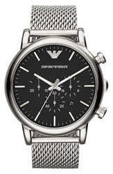 Emporio Armani Chronograph Mesh Strap Watch 46Mm Silver Black