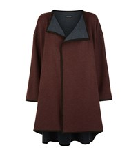 Eskandar Suede Trim Waterfall Cardigan Female Burgundy