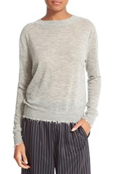 Vince Women's Distressed Trim Cashmere Top Heather Steel