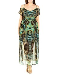 City Chic Graphic Palm Cold Shoulder Maxi Dress Olive