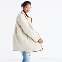 Madewell Sherpa Cocoon Coat Bleached Linen