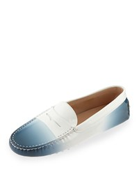 Tod's Degrade Patent Leather Gommini Driving Moccasin Navy Size 39.0B 9.0B Navy Degrade