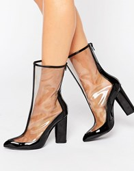 Missguided Clear Patent Pointed Ankle Boots Black