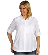 Columbia Plus Size Silver Ridge L S Shirt White Women's Long Sleeve Button Up