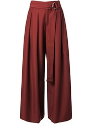 Irene Pleated Palazzo Trousers Red
