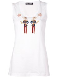 Dolce And Gabbana Applique Rabbit Soldiers Tank Top White
