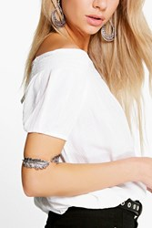 Boohoo Double Leaf Arm Cuff Silver