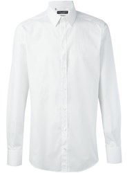 Dolce And Gabbana Embroidered Logo Shirt White