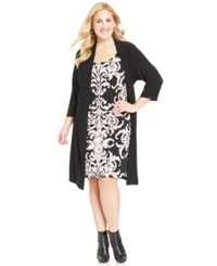Connected Plus Size Printed Layered Look Dress