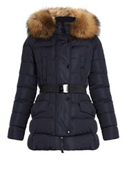 Moncler Clio Fur Trimmed Quilted Down Coat Navy
