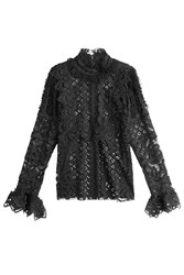 Anna Sui Lace Blouse With Ruffle Trim Black