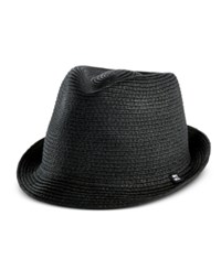 B Block Headwear Men's Braided Paper Straw Fedora Black