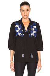 Suno Two Tone Floral Top In Black