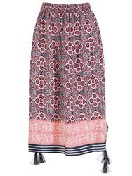 Izabel London Multi Print Midi Skirt With Split Detail Pink