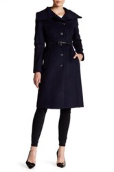 Mackage Genuine Leather Trim Wool Blend Belted Coat Blue
