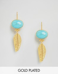 Ottoman Hands Feather And Stone Earrings Gold Turq