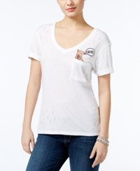 Guess Ripped Embroidered Pocket T Shirt True White