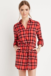 Forever 21 Plaid Flannel Shirt Dress Red Black