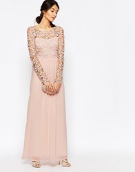 Club L Crochet Maxi Dress With Long Sleeves Nude Pink