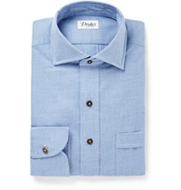Drakes Chambray Shirt Blue