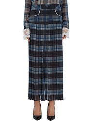 Preen Juliett Checked Pleat Georgette Skirt Navy