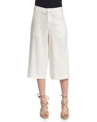 Alice Olivia Marlena Low Rise Linen Blend Gaucho Pants Cream Ivory