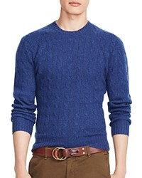 Polo Ralph Lauren Cable Knit Cashmere Sweater Derby Blue Heather