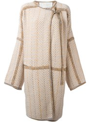 Chloe Knitted Oversized Coat Nude And Neutrals