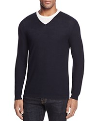 Bloomingdale's The Men's Store At Extrafine Merino Wool Pique Stitch V Neck Sweater Navy