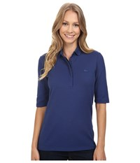 Lacoste Half Sleeve Slim Fit Stretch Pique Polo Shirt Waterfall Blue Women's Short Sleeve Knit Navy