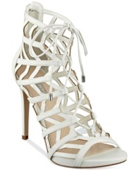 Guess Women's Anasia Lace Up Caged Gladiator Sandals Women's Shoes White