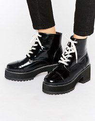 Asos Rue Chunky Lace Up Boots Black