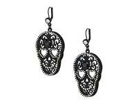 Betsey Johnson Black Rubber Skull Drop Earrings Black Earring