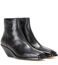 Rick Owens Leather Wedge Ankle Boots Black