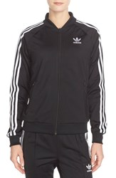 Women's Adidas Originals 'Supergirl' 3 Stripes Track Jacket Black White