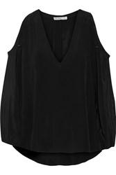 Chelsea Flower Patrizia Cutout Silk Crepe De Chine Top Black