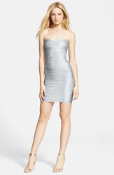 Herve Leger Strapless Foil Bandage Dress Ice Grey