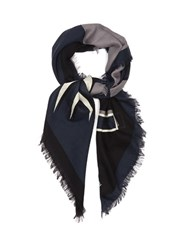 Fendi Faces Silk And Wool Blend Scarf Grey