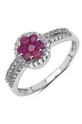 Olivia Leone Sterling Silver Ruby Flower And Pave White Topaz Ring Metallic