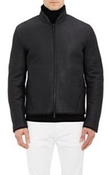 Armani Collezioni Shearling Lined Leather Jacket Black