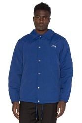Stussy Smooth Stock Coach Jacket With Faux Fur Lining Blue