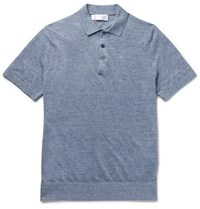 Brunello Cucinelli Slim Fit Melange Linen And Cotton Blend Polo Shirt Blue