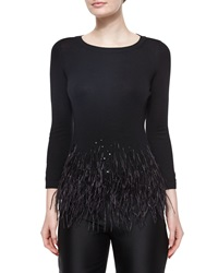 Carolina Herrera Feather Trimmed Knit Top