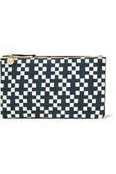 Clare V. Printed Linen Canvas Clutch Blue