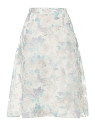 Therapy Floral Mesh Full Skirt Blue