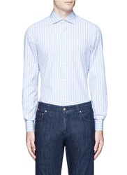 Isaia 'Milano' Stripe Cotton Shirt Blue