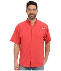 Columbia Tamiami Ii S S Sunset Red Men's Short Sleeve Button Up Multi