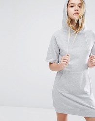 Daisy Street Short Sleeve Hooded Sweat Dress With Kangaroo Pocket Grey Marl