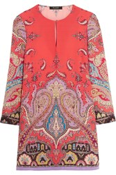 Etro Printed Silk Crepe De Chine Mini Dress Coral