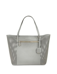 Kenneth Cole Dover Street Leather Perforated Tote Light Grey